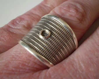 925 Sterling Silver Wide Cigar Band Ring Adjustable Size 8
