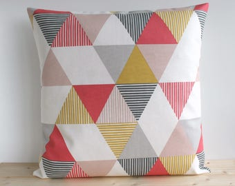 Decorative Pillow Cover, 16x16, 18x18, 20x20, Cushion Cover, Geometric Pillow Sham, Throw Pillow Cover, Accent Pillow, Cotton - Prism Coral