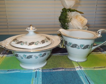 Vintage Silver Wreath Creamer and Covered Sugar Bowl Japan