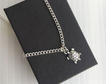 Turtle Necklace With Gift Box - Tortoise / Terrapin Charm Pendant / Sea Animal Lover Present Gift