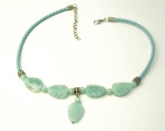 Vintage Blue Amazonite Carved Leaves Leather Cord Handmade 1970's Necklace Gift For Her on Etsy Best Deal