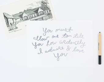 mr. Darcy love quote art print, 5x7