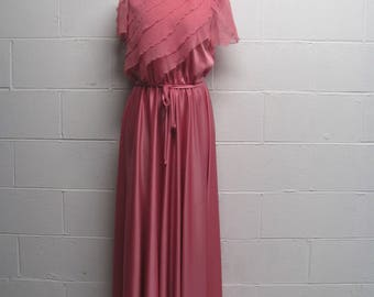 Pretty Vintage Womens Silky Layered Top Elegant Dress Long Pink Maxi Dress