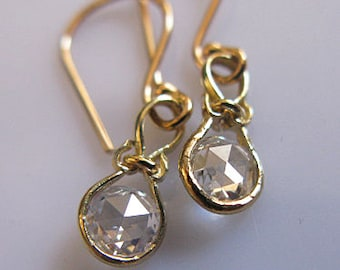14K Rose Cut Diamond Earrings Genuine Real Diamond Drop Earrings Everyday Yoga Earrings VS Diamond Earrings Unique Earrings Rustic Casual