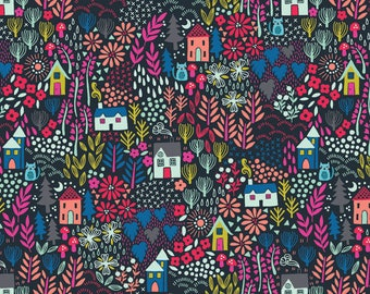 Cats in garden on navy blue - Kitty Fabric Fat Quarters 100% cotton quilting dressmaking Makower UK, Andover UK shop