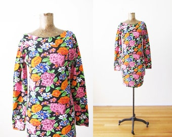 90s floral dress - 90s bodycon dress - tight 90s long sleeve mini dress - stretchy 90s dress - colorful flower print dress - 90s clothing S
