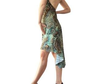 Turquoise Versace Ruffle - Godet Tango Dress