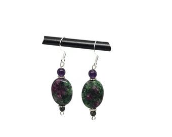 Ruby zoisite earrings| ruby zoisite jewelry| tanzanite earrings| purple tanzanite| green purple earring| gift for mom| Easter jewelry