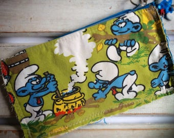 Smurf Pencil Case, Upcycled Purse, Upcycled Zip Pouch, Assemblage Purse, Zip Pouch, Coin Purse,