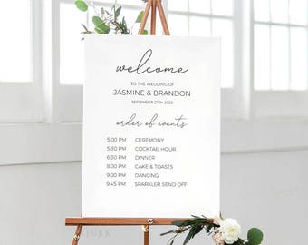 Modern Calligraphy Printable Order Of Events Welcome Sign Template, Event Sign, Custom Wedding Sign, Editable PDF Instant Download #E037
