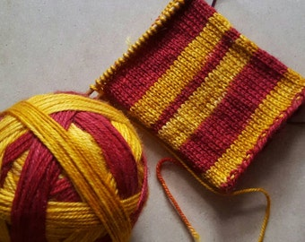 Hand Dyed Self Striping Sock Yarn ~ House Colors - Red and Gold