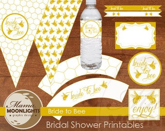 INSTANT DOWNLOAD Bride to Bee - Modern, Whimsical Printable Bridal Wedding Shower DIY Printable Party Package Yellow White