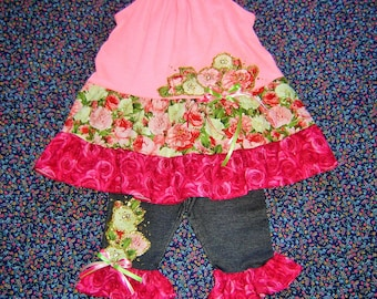 Girls Roses Pink and White Outfit 2-7/8 Gold Jewels Top blouse denim Leggings pants
