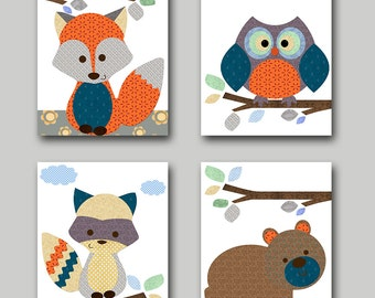 Baby Girl Boy Nursery Decor Childrens Art Print Baby Nursery Print Owl Nursery Fox Nursery Bear Nursery Baby Wall Art set of 4 Orange Gray /