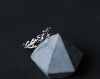 Nature engagement ring -Cedar ring-White quartz ring-Botanical jewelry -Botanical ring -Gemstone ring-Gift for her-Nature inspired ring