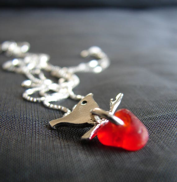 Little Bird sea glass necklace in rare red