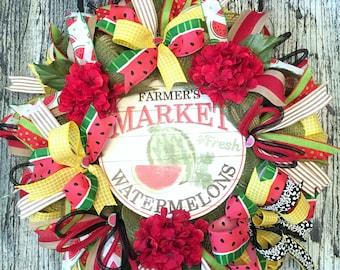 Deco Mesh Wreath, Watermelon Wreath, Summer Front Door Decor, Watermelon Mesh Wreath, Summertime Watermelon Decoration, Watermelon Party