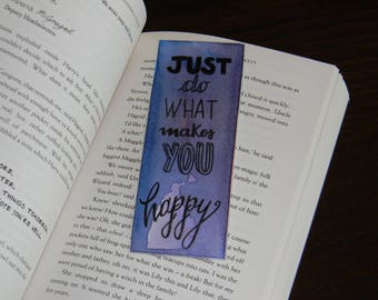 Glossy watercolor bookmark with inspiring quote