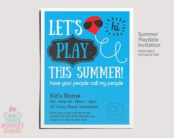 PRINTABLE Summer Playdate Invite | Personalized Photo Invitation | Play Date Card | Summer Party | Color AND Black & White | Editable PDF |