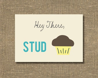Hey There Stud Muffin Greeting Card | The Perfect Card For Your Cute Boyfriend or Man in Your Life | Compliment Your Cute Boyfriend | Flirty