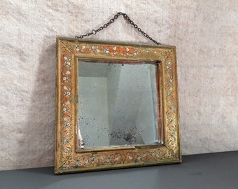 Antique Italian Florentine Mirror - Victorian Hand Painted Mirror from Italy, c. 1800s - Gilt with Flowers