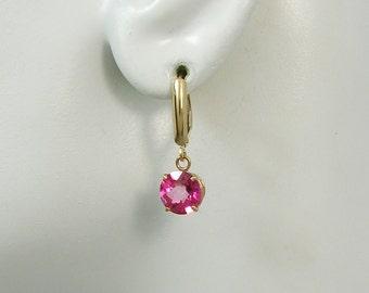 14K Gold Dangle Pink Topaz Round Drop Gemstone European Spring BackBar Top Lever Back Classic Style High Fashion Earrings 14KPKTOP8MRDLB