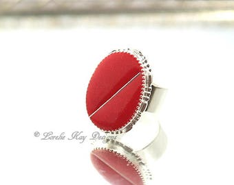 Mod Resin Cast Resin Ring Fine Silver Plated Modern Simple Red  Ring