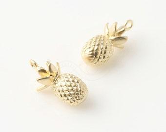 3413014 / Pineapple / 16k Matt Gold Plated Brass Pendant 8mm x 16mm / 2.1g / 2pcs