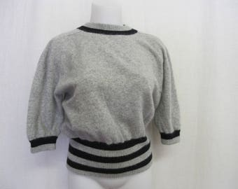 Angora Sweater Cropped Angora Sweater Gray Sweater Short Sleeve Sweater Liz Claiborne
