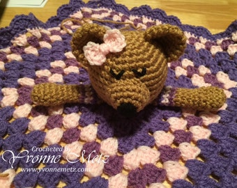 """Crocheted Baby Bear """"Lovey"""" or Security Blanket Made to Order"""