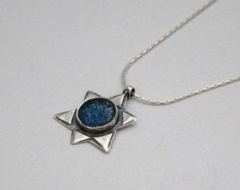 Star of David Necklace , Sterling silver necklace, roman glass pendant , Hanukkah Gift , Bluenoemi Jewelry