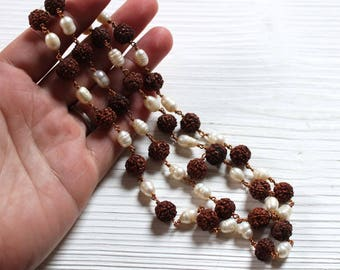 Vintage handmade freshwater pearl and rudraksha bead necklace