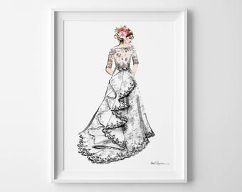 Bridal Illustration, Custom Bridal Illustration, Custom Wedding Illustration, Custom Bridal Portrait Illustration