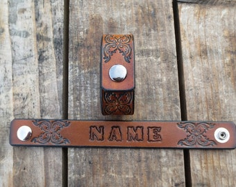 Leather Name Bracelet  with Scroll Design