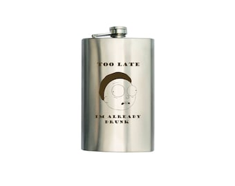 """Rick and Morty  inspired Flask """"Drunk"""" CAN BE Personalized Custom Gift (6 oz, 7 oz, 8 oz, 9 oz, 10 oz)"""