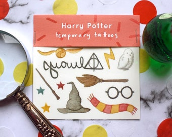 Harry Potter Temporary Tattoos // Transfers // Glasses Scar Always Gryffindor