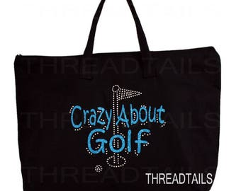 Crazy About Golf glitter rhinestone tote.  Bling gift idea for golfers, sports lovers, golfing fans, birthday.  Large black bag, Zipper top.