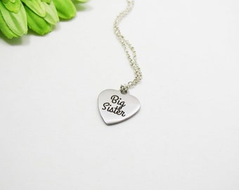 Silver Big Sister Necklace - Big Sis Necklace - Sister Gift - Stainless Steel Charm - Sister Jewelry - Sis Charm Necklace - Big Sis Jewelry