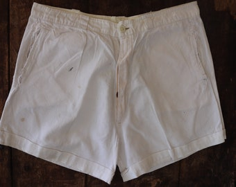 """Vintage 1940s 40s 1950s 50s french army military white cotton shorts underwear pants button fly repaired 32"""" waist (2)"""