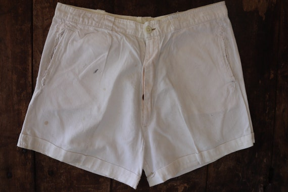 "Vintage 1940s 40s 1950s 50s french army military white cotton shorts underwear pants button fly repaired 32"" waist (2)"