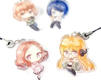 Akechi, Yusuke, Haru, Futaba - Persona 5 SET B Hand-Drawn Double Sided Front & Back Anime Acrylic Charms with Phone Strap