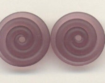 16mm range, Tom's lampwork transparent satin (etched) frosted medium amethyst 2 disc drops-spacer set, 1 pair 96400-2