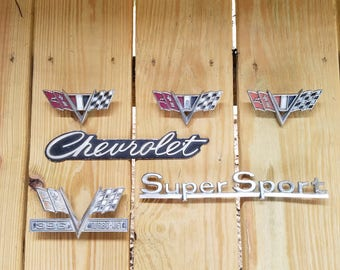 1960's Classic Chevrolet Emblems, Lot of 6, Rustic, Vintage
