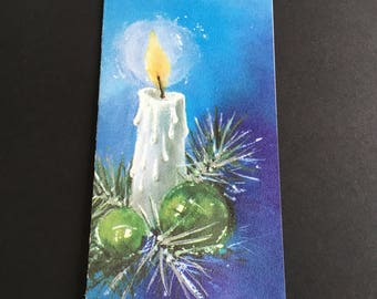 Vintage Christmas greeting card, white cand, blue background. Slim Jim, Hallmark