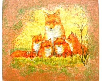 Nice collage on canvas cardboard the Fox and his small painting 20 x 20 cm.