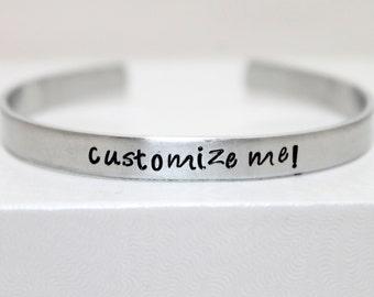 Personalized Aluminum Bracelet, Customized Cuff, Custom Jewelry, Mother's Jewelry, Geeky Bracelet, Secret Message Jewelry