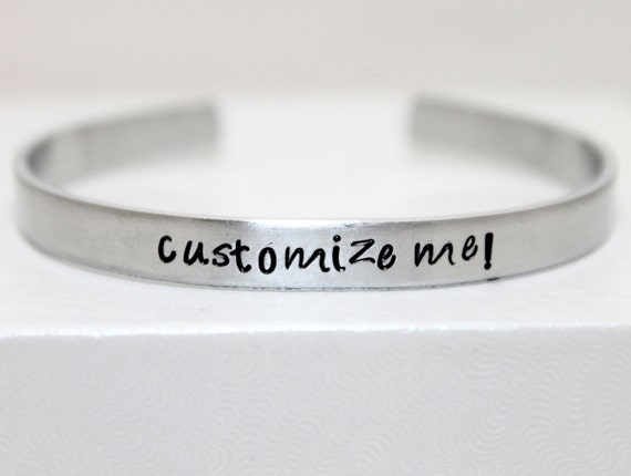 Personalized Aluminum Bracelet, Customized Cuff, Custom Jewelry, Mother's Jewelry, Geeky Bracelet, Secret Message Jewelry