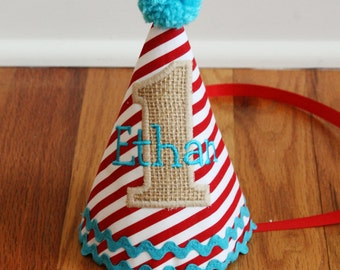 Boys 1st Birthday Circus Party Hat - red stripes, burlap, and aqua - Free personalization - Circus Birthday - First birthday circus