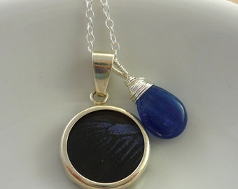 Sterling silver blue & brown butterfly wing pendant necklace. Something blue.