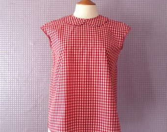 Gingham red and white cotton Peter Pan collar blouse
